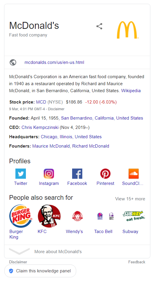 Knowledge graph in Search Results