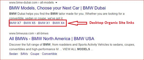 Site Links within Google Results