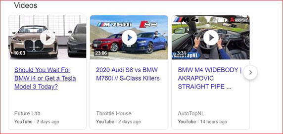 YouTube Video Results in Search Results